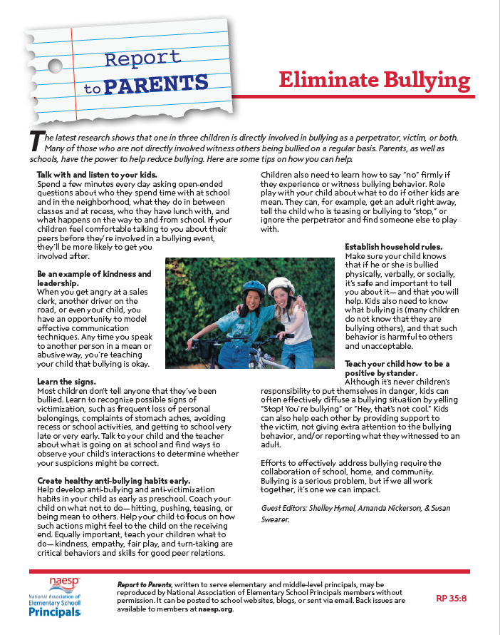 NAESP Parents and Bullying
